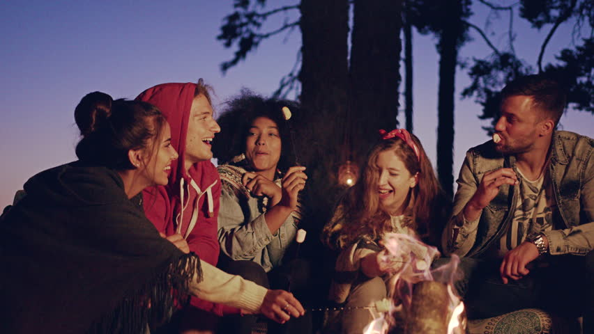 Happy Young Group Of Campers Camping In The Woods At Dusk Drinking Hot Drinks And Smiling Happiness In The Wild Happy Picnic Party In Nature Concept Slow Motion Shot On Red Epic W 8k #30848392