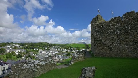 Welsh castle and town with blowing welsh flags.