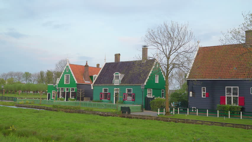 Zaanse Schans Netherland May 02 2017: Three Small Wooden Houses In The  Village With The