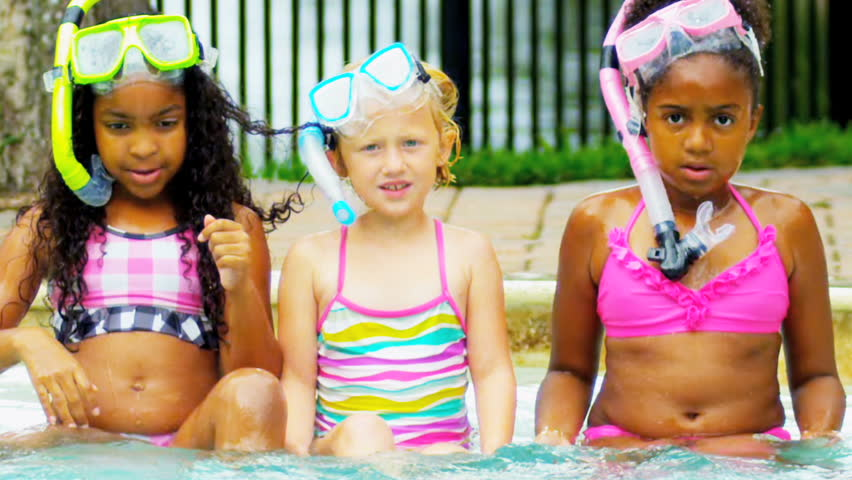 Laughing Multi Ethnic Girls Swimming Pool Slow Motion