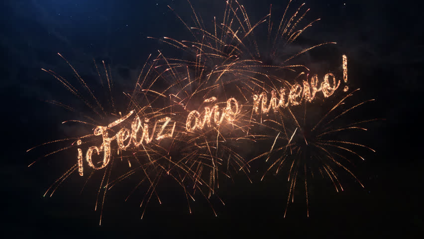 Happy new year greeting text stock footage video 100 royalty free 4k0035happy new year greeting text in spanish with particles and sparks on black night sky with colored slow motion fireworks on background m4hsunfo