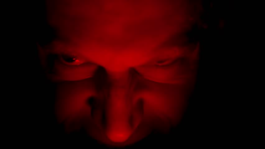 Evil Face in Dark, with Red Glowing Light, Facial Expressions