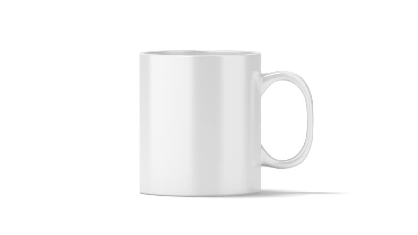 Blank White Coffee Mug Mock Up Isolated Front View Looped Rotation Clipping Mask