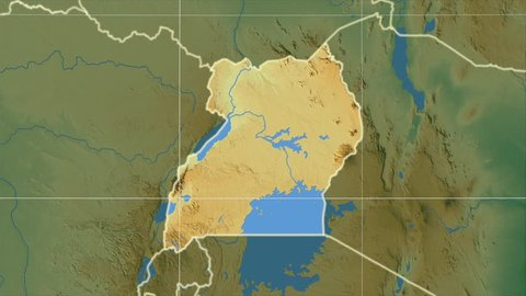 The Uganda area map in the Azimuthal Equidistant projection. Layers of main cities, capital, administrative borders and graticule. Colored physical map