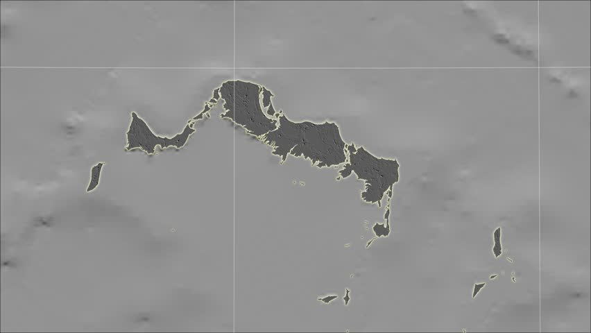 The Turks And Caicos Islands area map in the Azimuthal Equidistant projection. Layers of main cities, capital, administrative borders and graticule. Elevation & bathymetry - grayscale contrasted