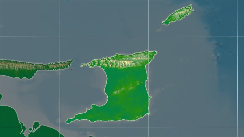 The Trinidad And Tobago area map in the Azimuthal Equidistant projection. Layers of main cities, capital, administrative borders and graticule. Colored physical map