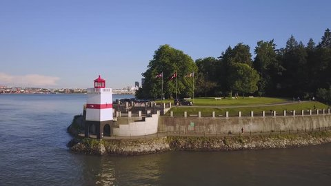 Brockton Point Lighthouse in Stanley Park, Downtown Vancouver City, British Columbia, Canada. Taken during a sunny day.