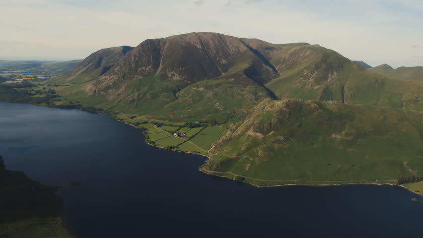 Aerial view over Crummock Water and Grasmoor Fell.