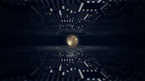 Bitcoin. Blockchain technology. Mining of crypto-currencies.