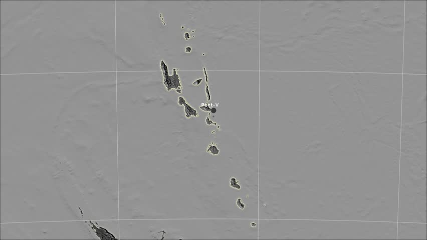 The Vanuatu area map in the Azimuthal Equidistant projection. Layers of main cities, capital, administrative borders and graticule. Elevation & bathymetry - grayscale contrasted