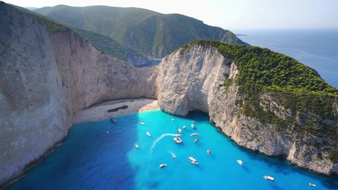 Drone view to Navagio - wreck beach in Croatia. Beautiful sunny day and azure water. Romantic atmosphere of clear and clean sea.