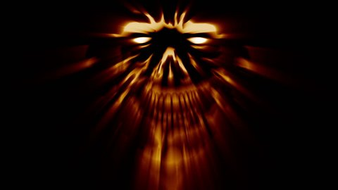 Maliciously laughing monster head  angry monster character  looped  animation in genre of horror
