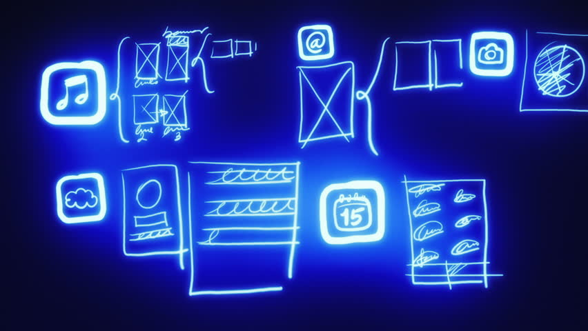 Mobile app development blueprint concept technology drawing mobile app wireframing prototyping neon blueprint hd stock footage clip malvernweather Gallery