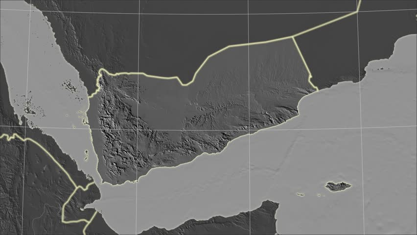 The Yemen area map in the Azimuthal Equidistant projection. Layers of main cities, capital, administrative borders and graticule. Elevation & bathymetry - grayscale contrasted