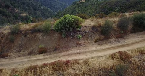 Aerial drone over subaru forester off road on Figueroa Mountain in Santa Barbara area of California.