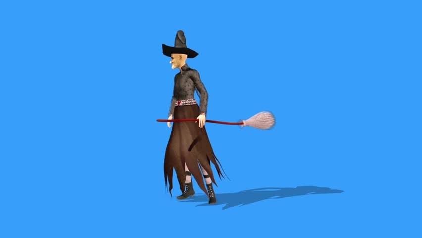 Witch Defends Broom Halloween Side Blue Screen 3D Rendering Animation Horror