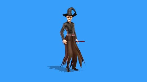 Witch Defends Broom Halloween Front Blue Screen 3D Rendering Animation Horror