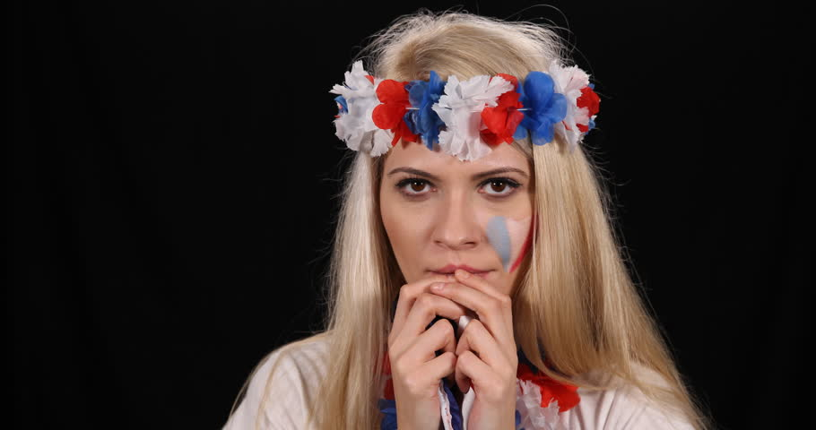 French Woman Supporter Fan Sad Unhappy Moment Team France Lost Game Sport Event | Shutterstock HD Video #31003327