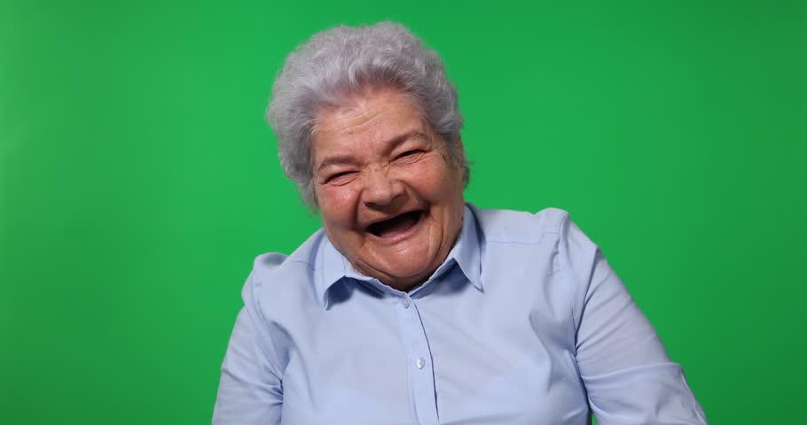 Elderly Woman Look Camera Posing Happy Laugh Chroma Key Green Screen Background