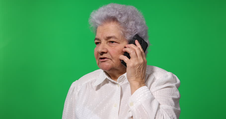 Old Business Woman Talking to Mobile Phone Team Contact Green Screen Background | Shutterstock HD Video #31008862