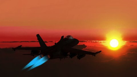 Millitary fighter f-18 jumps in height with afterburner at night