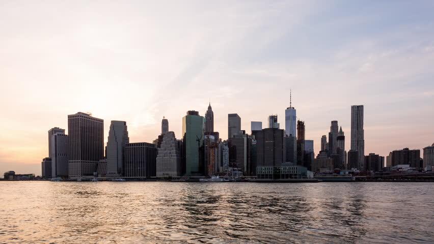 Manhattan, New York City Day to Night Sunset Timelapse September 11th Tribute | Shutterstock HD Video #31036129