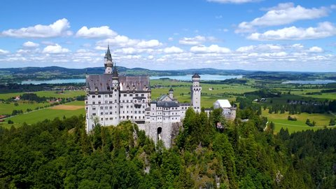 Neuschwanstein Castle Bavarian Alps Germany. Aerial FPV drone flights.