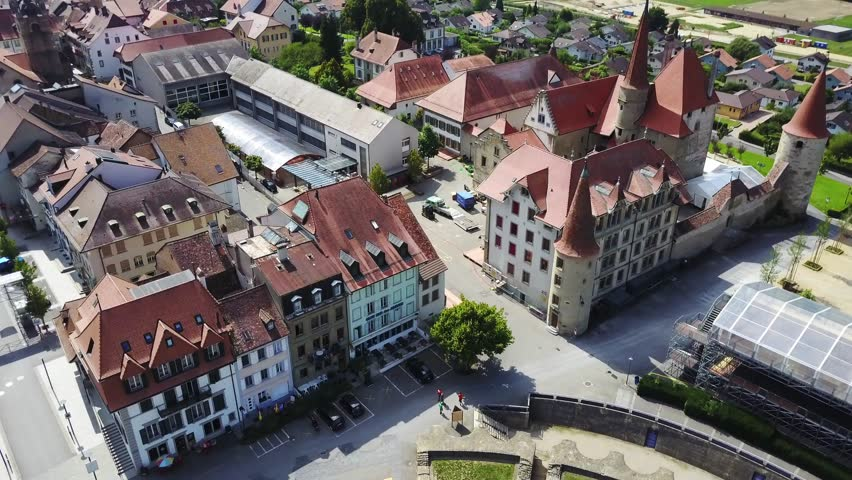 Aerial View Of Avenches Switzerland A Swiss Municipality In The