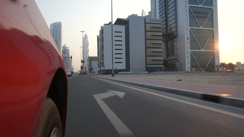 Dubai, UAE, September-20, 2014. Driving in downtown on a wide multi-lane highway. The camera is outside the car. | Shutterstock HD Video #31086502
