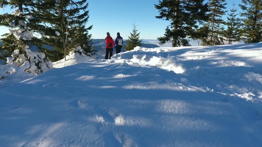 Hikers resting. snow winter landscape. aerial | Shutterstock HD Video #31088902