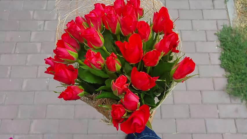 Stock video of giving bouquet of flowers, roses.handsome ...