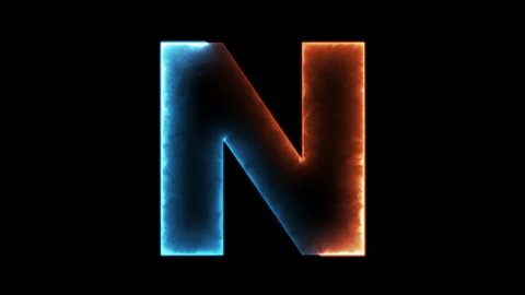 Alphabet letter N - outline in two colors looping on black background in 4k