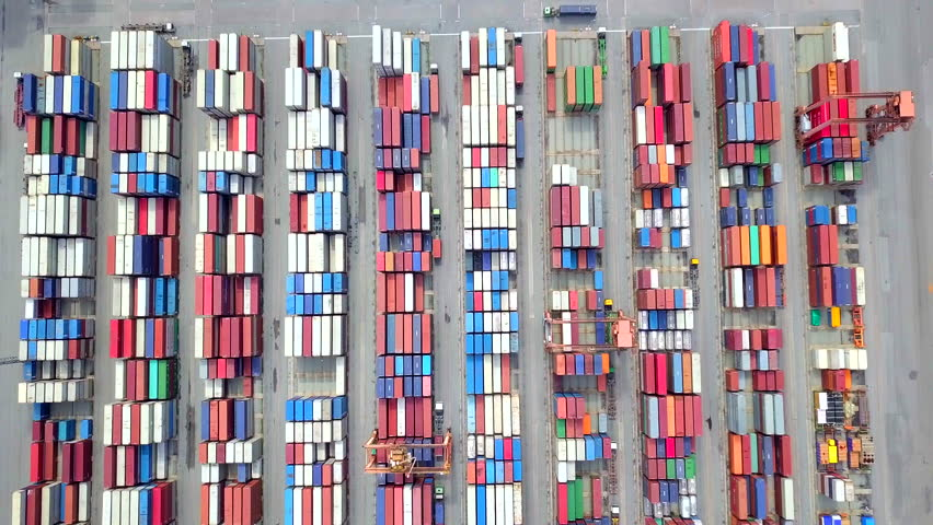 Aerial view port container terminal  container ship in import export and business logistic #31109422