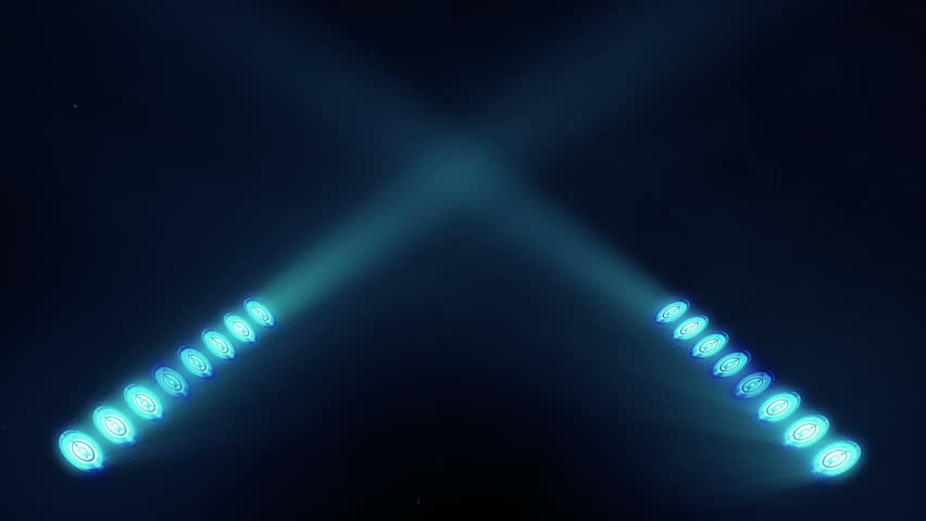 Bright stage lights flashing in blue color seamless loop
