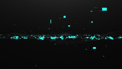 Scientific background with neon bubbles, lines and moving particles illuminated with blue on black screen