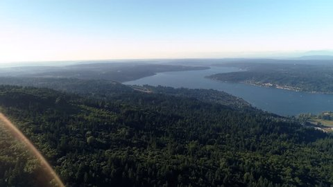 Beautiful Helicopter View of Washington Evergreen State Landscape by Lake Sammamish