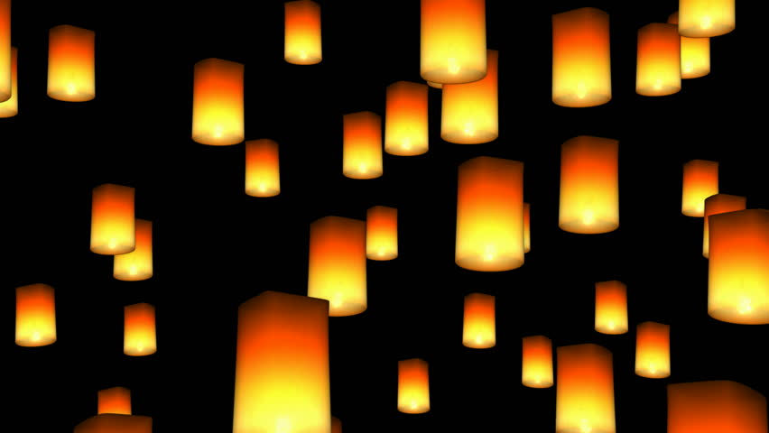 Floating Asian Lanterns - seamless loop, alpha channel included
