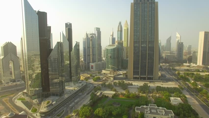 Aerial. Skyscrapers on financial district of Dubai city. United Arab Emirates. 4K. | Shutterstock HD Video #31192372