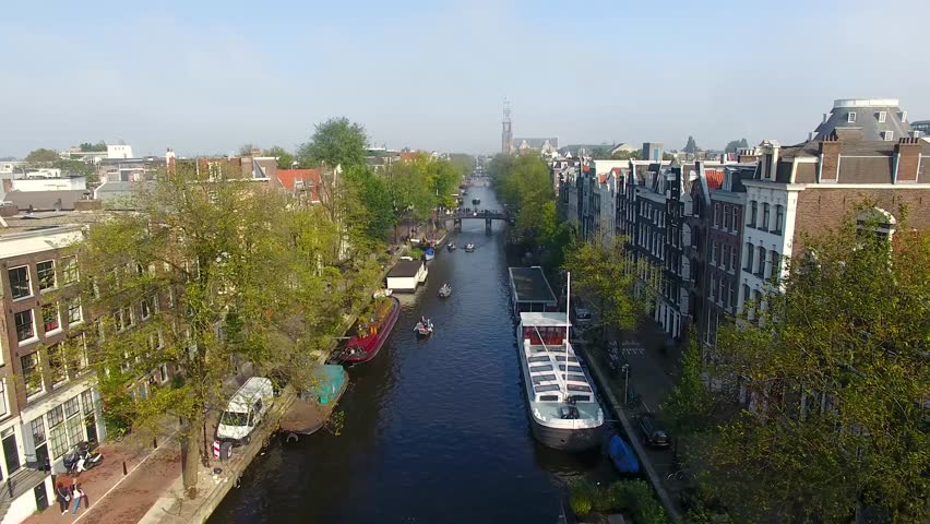 Misty Amsterdam, view from above
