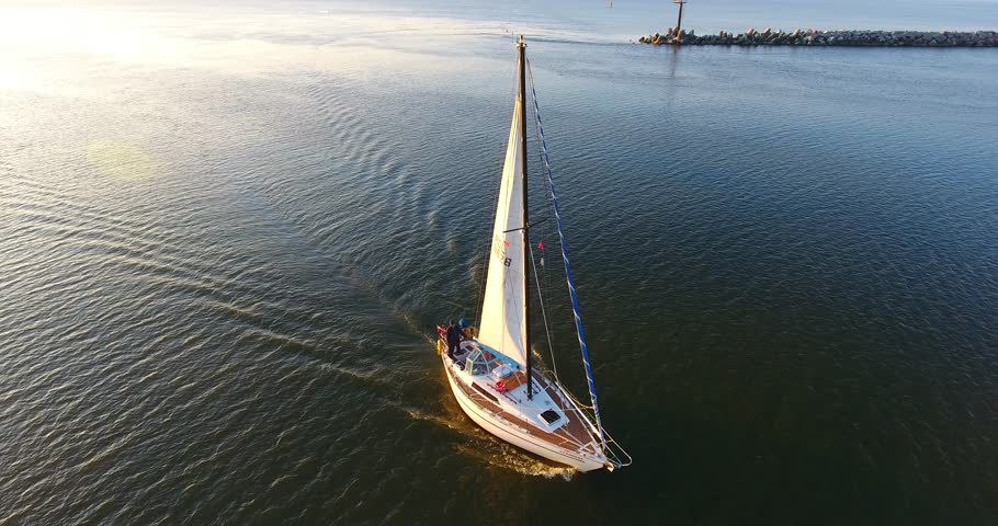 Aerial shot of yacht sailing on lagoon. Sailing boat. Yacht from drone. Yachting video. Yacht from above. Sailboat from drone. Sailing video - 003 | Shutterstock HD Video #31208422
