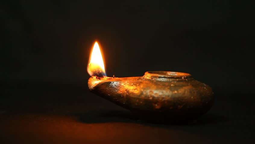 Olive Oil Clay Ancient Lantern Lamp Flame In Motion