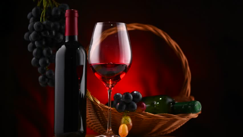 Wine Bottle And Glof Red Wine With Ripe G S Still Life Rotation 360 Degrees Red Wine Over Black Background Border Art Design 4k Uhd