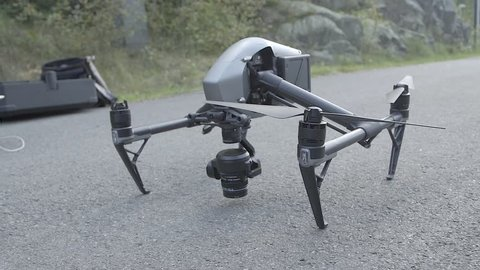 Nice drone standing on the asfalt