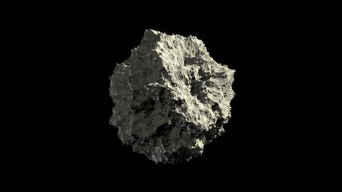 Asteroid or meteoroid rock in space, spinning, seamless loop. Loopable 3D animation with alpha channel.   ProRes 4444.