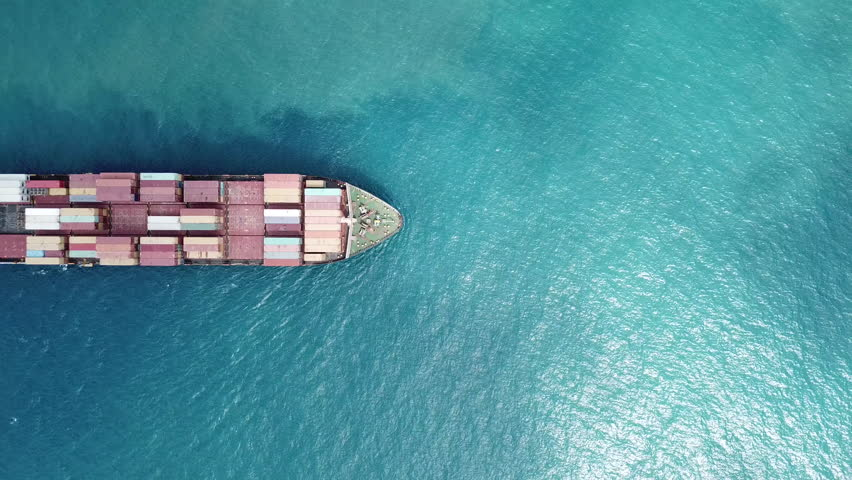 Aerial 4k shot top down of large ulcv container ship at the ocean  | Shutterstock HD Video #31259542