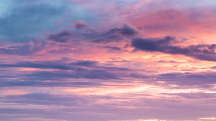 Cloud chenge colors in sunny day, orange,pink, blue rainy weather in autumn season, time lapse background Dark sunset.