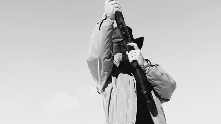Rifleman Shoots Gun Crack glass