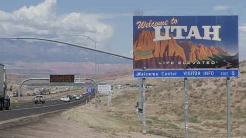 Welcome to Utah Sign on Interstate 15 at State-line on West Border with Arizona