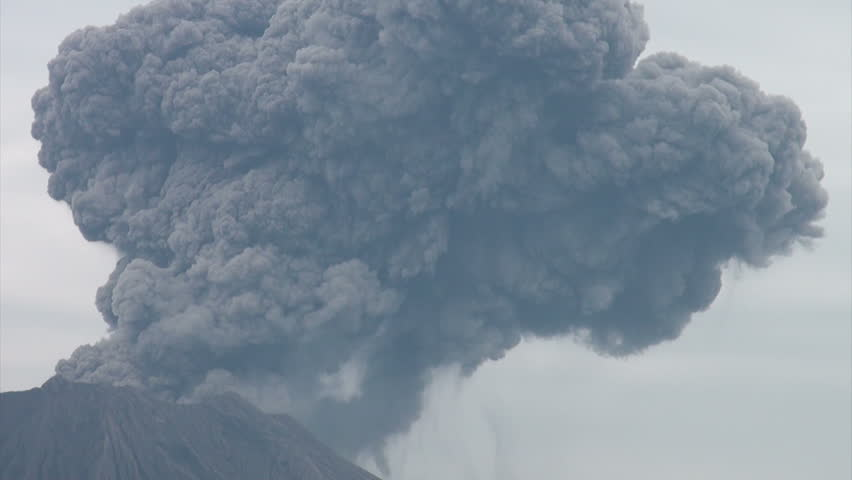 A massive eruption of the Sakurajima volcano in Southern Japan causes huge clouds of smoke and ash