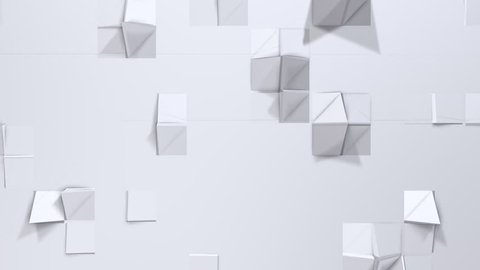 Simple low poly 3D surface as cartoon game background. Soft geometric low poly background of pure white grey polygons. 4K Full hd seamless loop background with copy space